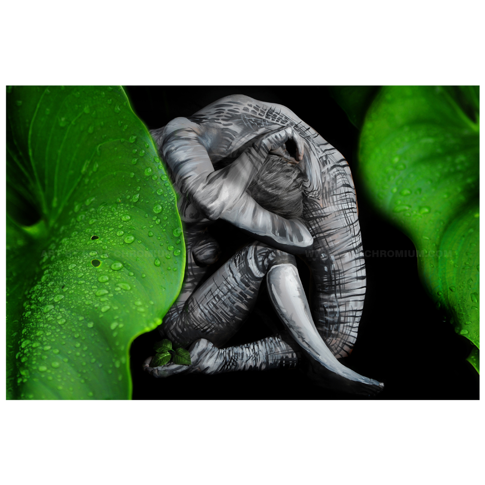 Elephant Bodyart Illusion Metal Print Bodypainting And Fine