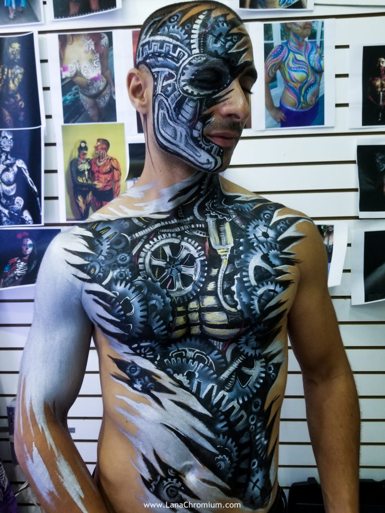 airbrush and brush body painting by bodypainter Lana Chromium from Skin Wars - skull - skeleton - Halloween make-up cosumes bodyart for Fantasy Fest Key West Florida 2019