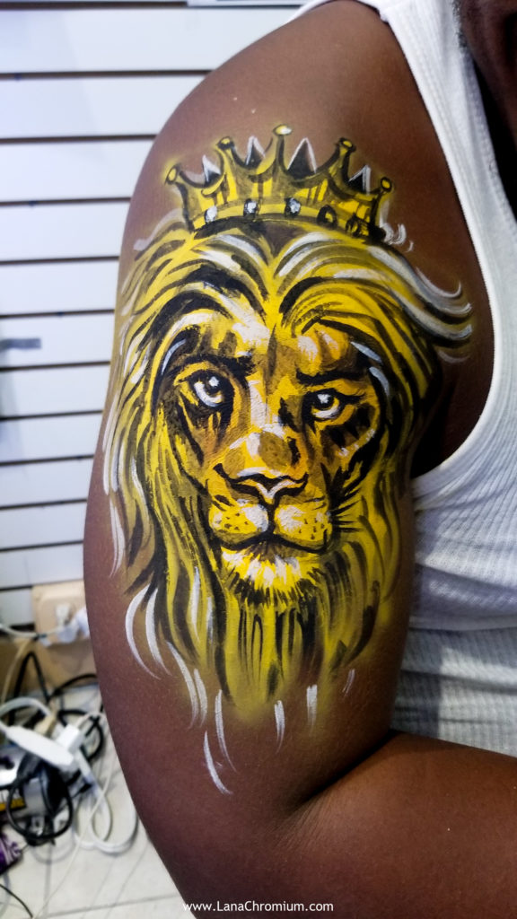lion temporary tattoo skeletond body painting by bodypainter lana Chromium Skin Wars Winner for Fantasy Fest key West