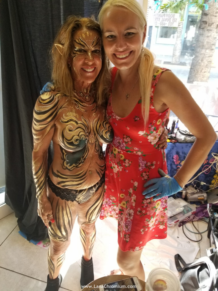 floral bodyart body painting by bodypainter Lana Chromium Skin Wars Winner for Fantasy Fest key West festival make-up warrior artist