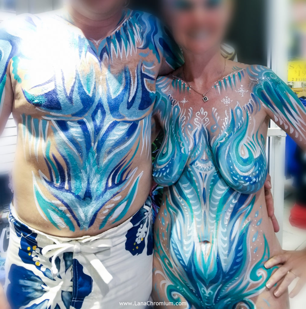 frozen inspired_skeletond body painting by bodypainter lana Chromium Skin Wars Winner for Fantasy Fest key West mermaid airbrush