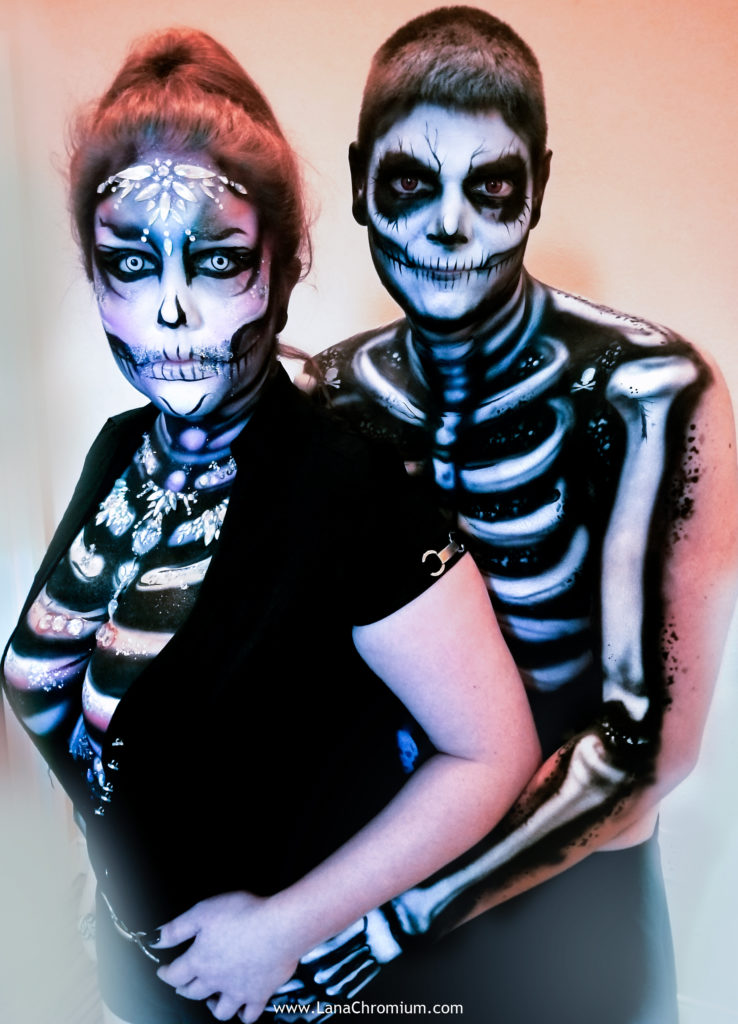 airbrush and brush body painting by body painter Lana Chromium from Skin Wars - skull - skeleton - Halloween make-up costumes bodyart for Fantasy Fest Key West Florida 2019