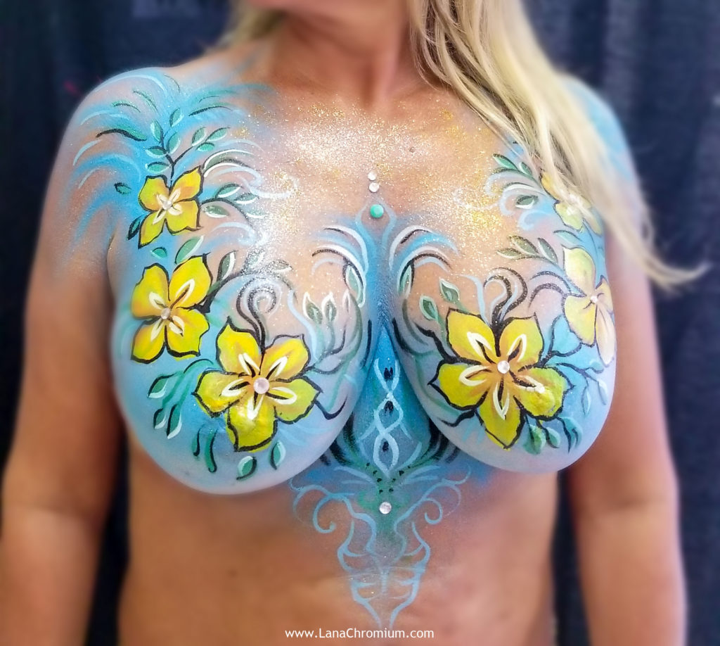 floral bodyart body painting by bodypainter Lana Chromium Skin Wars Winner for Fantasy Fest key West festival make-up