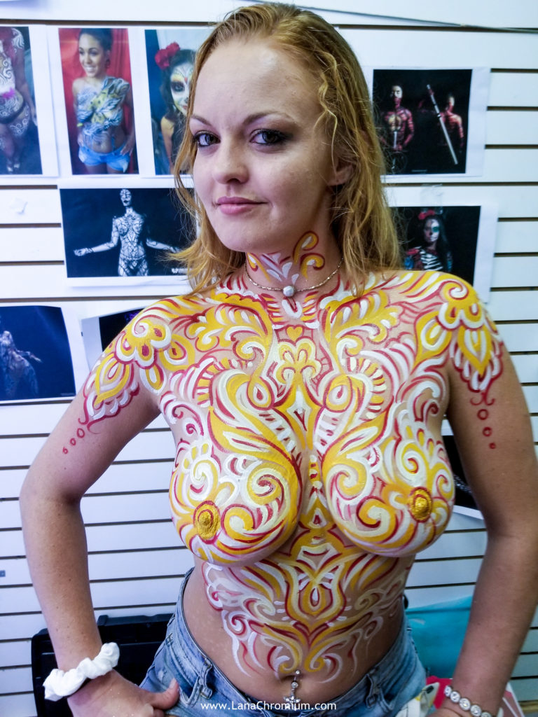 skeleton body painting by bodypainter lana Chromium Skin Wars Winner for Fantasy Fest key West mermaid airbrush