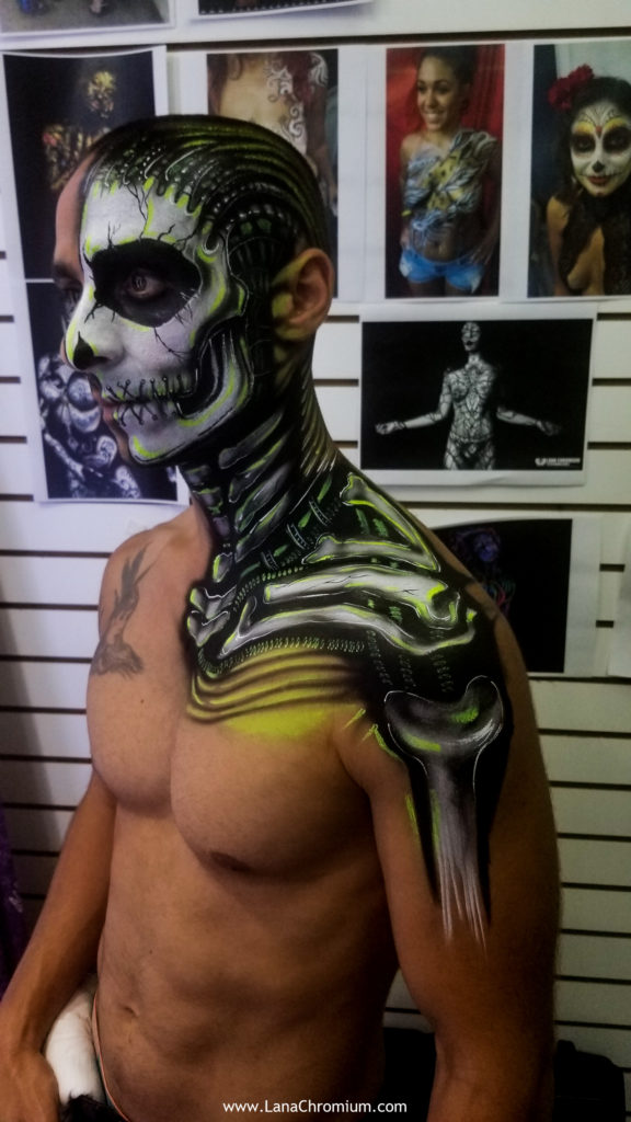 skeletond body painting by bodypainter lana Chromium Skin Wars Winner for Fantasy Fest key West scary body paint