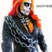 Lana Chromium painted Ghost Rider cosplay body painting on Isabelle Turell attending 2019 Arnold Classic
