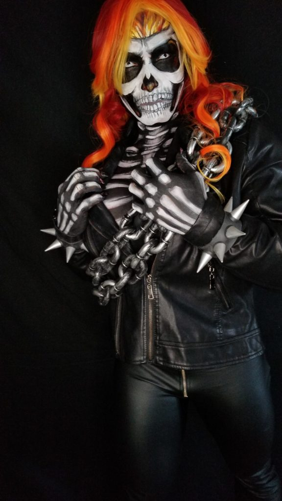 This cosplay bodyart was originally created for Isabelle Turell attending International Comic-Con  convention in San Diego California.