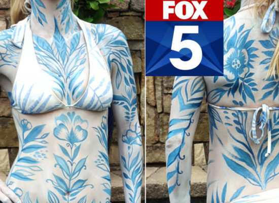Live body painting for San Diego FOX 5 Morning News by Lana Chromium. Does this bodyart remind you of Russian ornaments? Bodyart by Lana Chromium