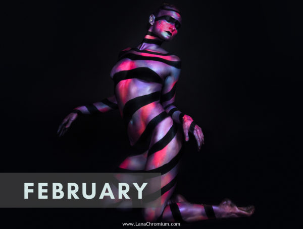 2020 Bodyart Calendar   FREE SHIPPING IN USA   High quality 2020 calendar containing images selected from the previous years of San Diego & Skin Wars winner bodypainter Lana Chromium bodypainting. contortion & bodyart Cassanna Atyim galaxy dali bodypaint illusion