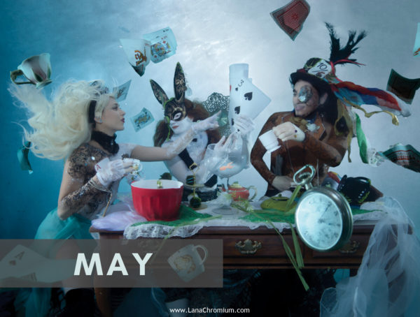 2020 Bodyart Calendar | FREE SHIPPING IN USA | High quality 2020 calendar containing images selected from the previous years of San Diego & Skin Wars winner bodypainter Lana Chromium bodypainting. Alice tea party bodyart underwater waterproof