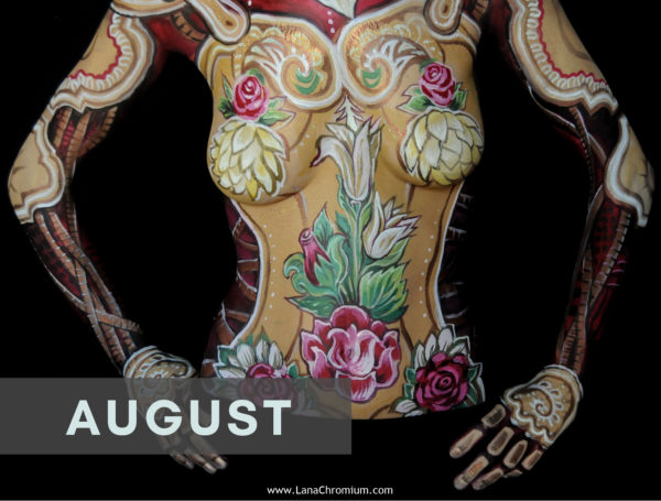 2020 Bodyart Calendar | FREE SHIPPING IN USA | High quality 2020 calendar containing images selected from the previous years of San Diego & Skin Wars winner bodypainter Lana Chromium bodypainting.