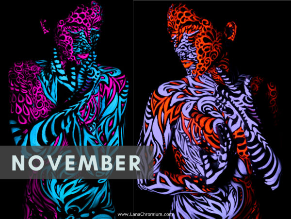 2020 Bodyart Calendar | FREE SHIPPING IN USA | High quality 2020 calendar containing images selected from the previous years of San Diego & Skin Wars winner bodypainter Lana Chromium bodypainting. UV bodyart