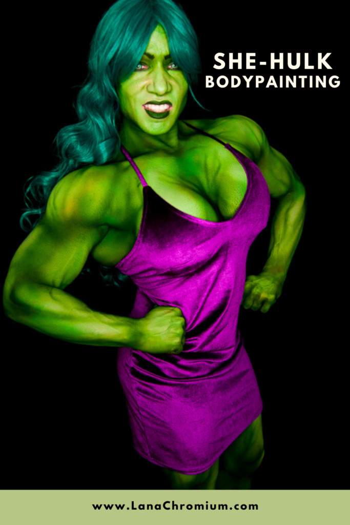 "Cosplay bodypainting ""She-Hulk"" for famous bodybuilder attending Comic-con International in San Diego Convention Center"
