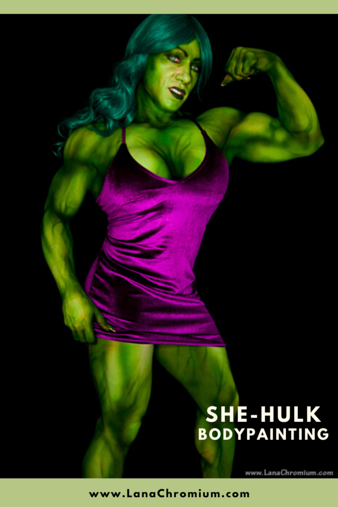 "she hulk cosplay, she hulk cosplay instagram, she hulk cosplay costume, she-hulk cosplay, she hulk cosplay, she hulk,  she hulk movie, she hulk comic, she hulk marvel, she hulk art, Lana Chromium,  lanachromium,  Skin Wars Lana,  Body painting,  bodypainting,  bodyart,  she hulk costume,  she hulk comiccon,  Cosplay bodypainting ""She-Hulk"" for famous bodybuilder attending Comic-con International in San Diego Convention Center"