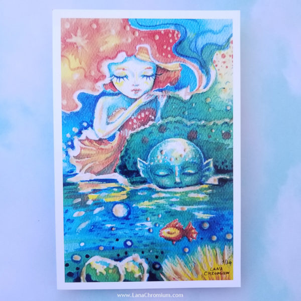 """PRINT SET OF 3 """"MERMAIDS"""" - Art by Lana Chromium - Print on paper - Shop for wall art for your room. Printed on luxurious thick bright white paper with archival pigmented inks. These inks provide beautiful vivid colors. peony, paradise, mermaid"""