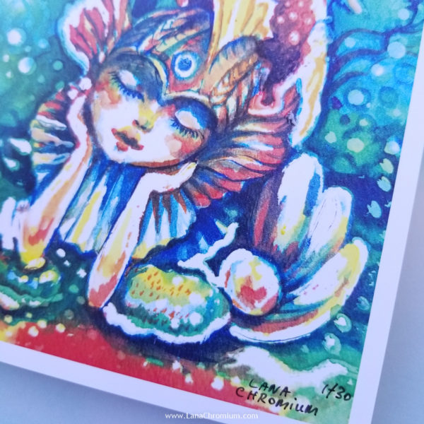 Mermaids Themed Artwork - Lana Chromium Studio - Online SHOP - Art Prints, Original Paintings, Stickers, and more! painting in watercolors, oils, acrylic for sale. Perfect wall art and decor ideas for your house.