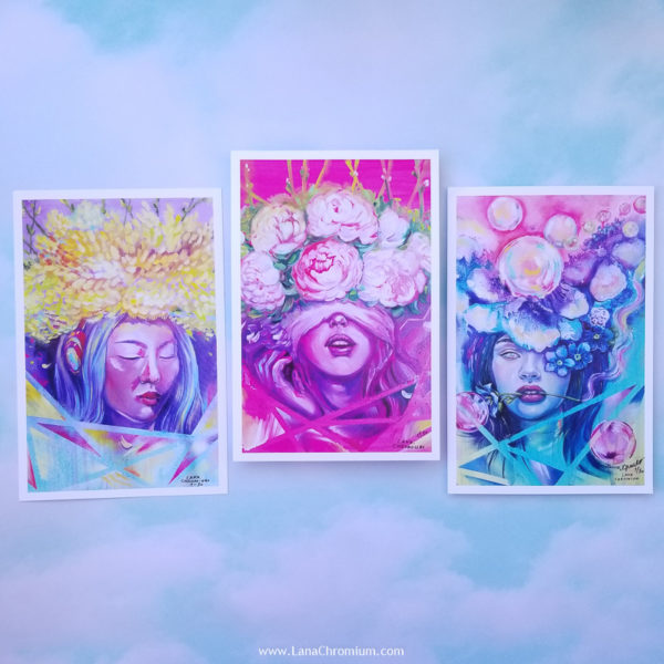 """PRINT SET OF 3 """"Flowers"""" - Art by Lana Chromium - Print on paper - Shop for wall art for your room. Printed on luxurious thick bright white paper with archival pigmented inks. These inks provide beautiful vivid colors. peony, paradise, blue flowers"""
