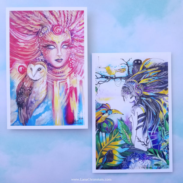 "PRINT SET OF 3 ""DREAMY"" - Art by Lana Chromium - Print on paper - Shop for wall art for your room. Printed on luxurious thick bright white paper with archival pigmented inks. These inks provide beautiful vivid colors. peony, paradise, hummingbird"