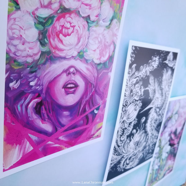 """PRINT SET OF 3 """"DREAMY"""" - Art by Lana Chromium - Print on paper - Shop for wall art for your room. Printed on luxurious thick bright white paper with archival pigmented inks. These inks provide beautiful vivid colors. peony, paradise, hummingbird"""