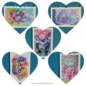 "PRINT SET OF 5 ""DREAMY"" - Art by Lana Chromium - Print on paper - Shop for wall art for your room. Printed on luxurious thick bright white paper with archival pigmented inks. These inks provide beautiful vivid colors. peony, paradise, hummingbird"