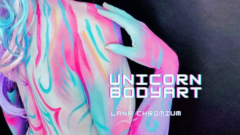 Unicorn body painting on Rochelle Lana Chromium Studio